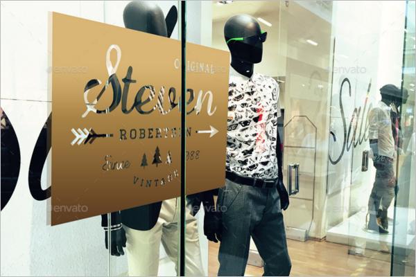 Fashion Window Signage Mockup Design