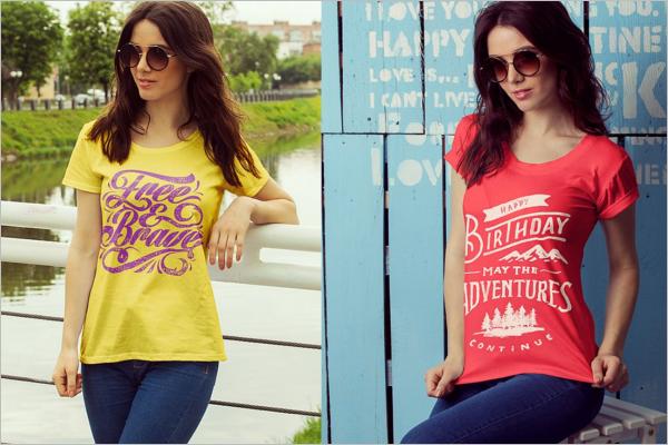 Female T-Shirt Mockup Design