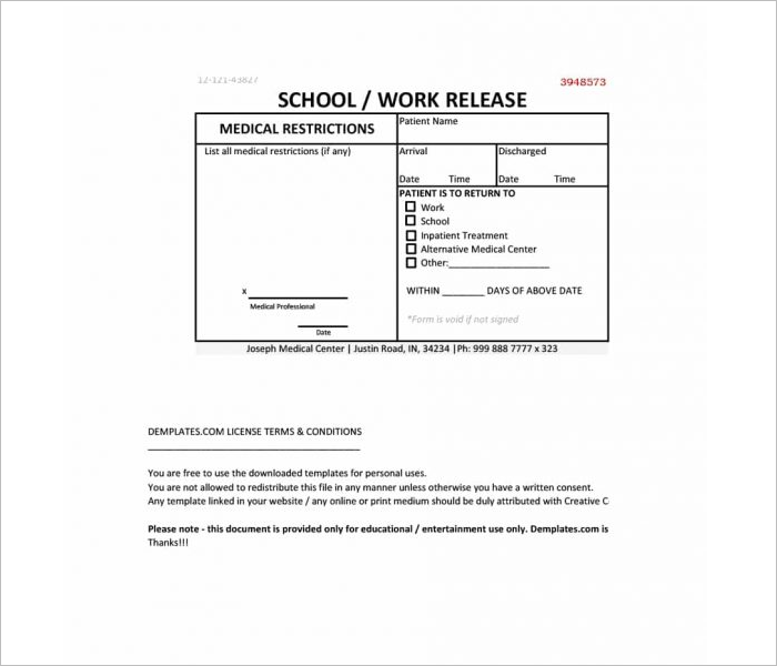 Fillable Doctor Note Template