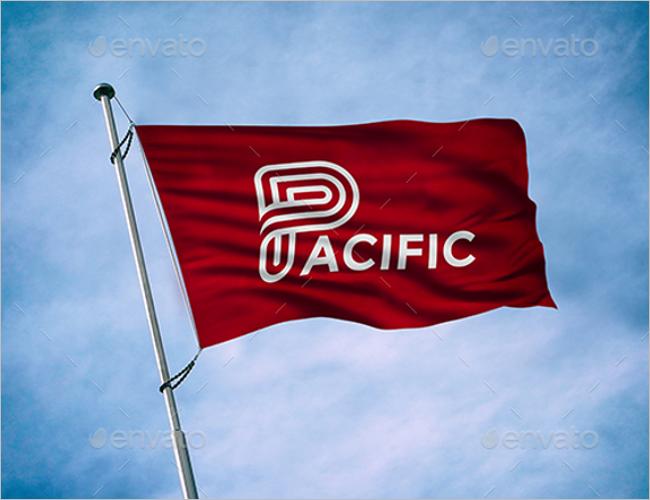 Flag Logo Mockup Template