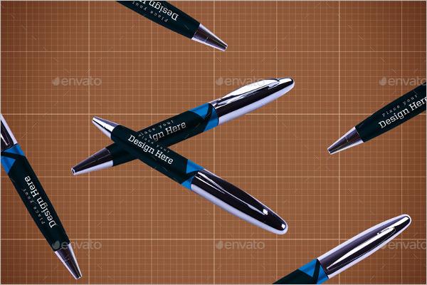Floating Pen Mockup Template