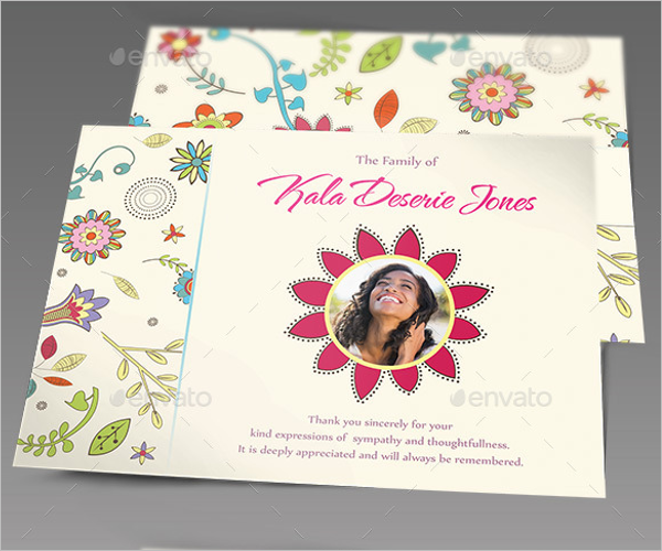 Floral Funeral Thank You Card Design