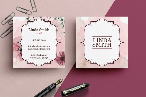 Floral Square Business Card Template