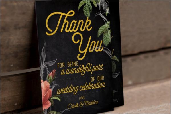 Floral Thank You Card PSD Design
