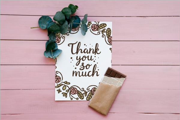 Floral Thank You Paper Card Design
