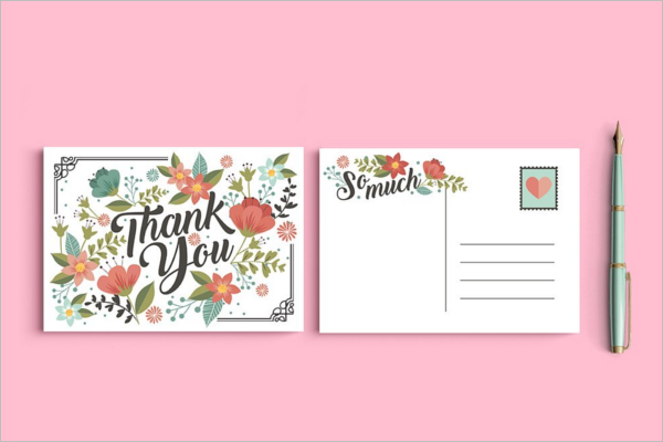 Floral Thank You Post Card Design