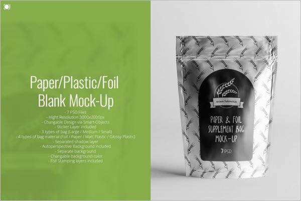 Foil Shaped Tea Packaging Mockup