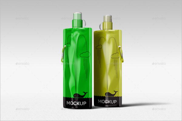 Foldable Water Bottle Mockup