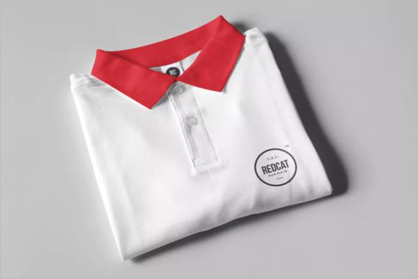 Folded Polo t-Shirt Mockup