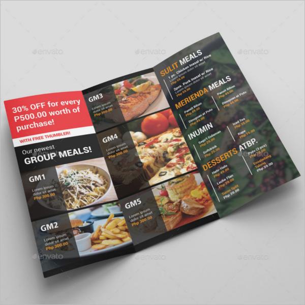 Tri-Fold Food Menu Template