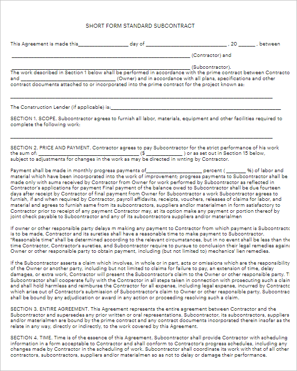 Free Agreement Form Template