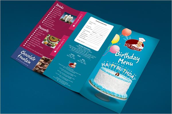 Free Birthday Menu Card Template