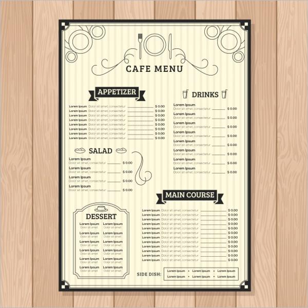 Free Cafe Menu Template. Download  Cafe Menu Templates Free Download