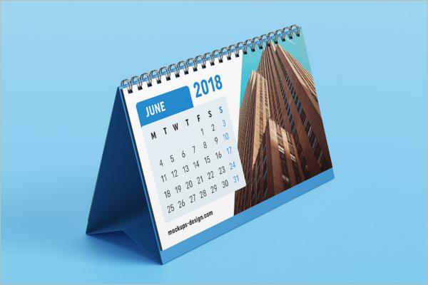 Free Desk Calendar Mockup Template