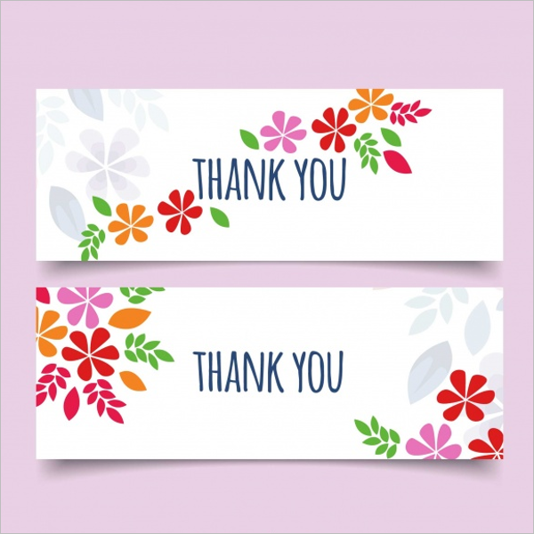 Free PSD Floral Design Thank You Card