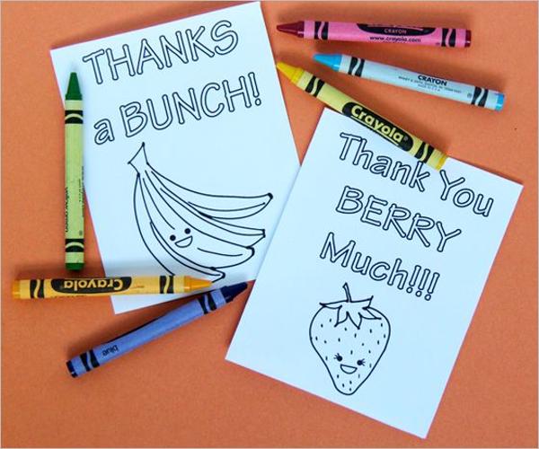Free PrintableKids Thank You Card Design