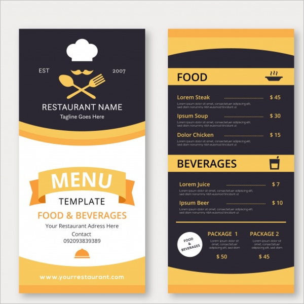 Free Restaurant Menu Design Illustrator