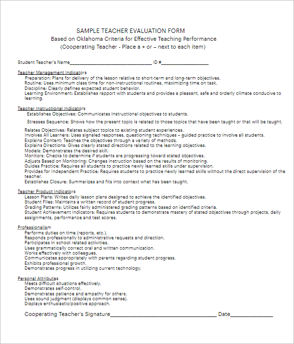 Free Teacher Evaluation Form