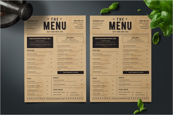 Fully Editable Menu Card Design