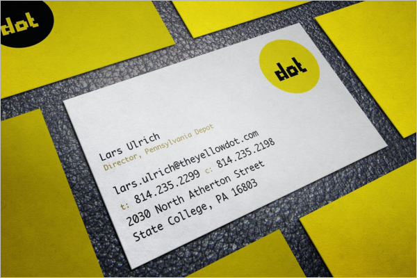 Fully Editable Yellow Business Card Design