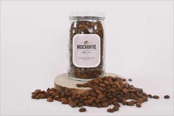 Glass Jar with Coffee Beans Mockup