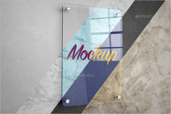 Glass Type Poster Design Mockup