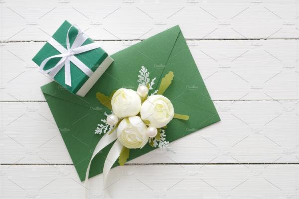 Green Envelope & Gift Box Mockup