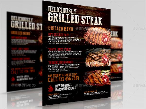 Grill Restaurant Food Flyer Design
