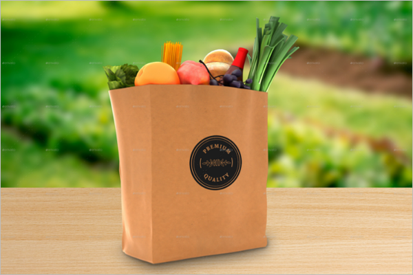 Grocery Paper Bag Mockup Design