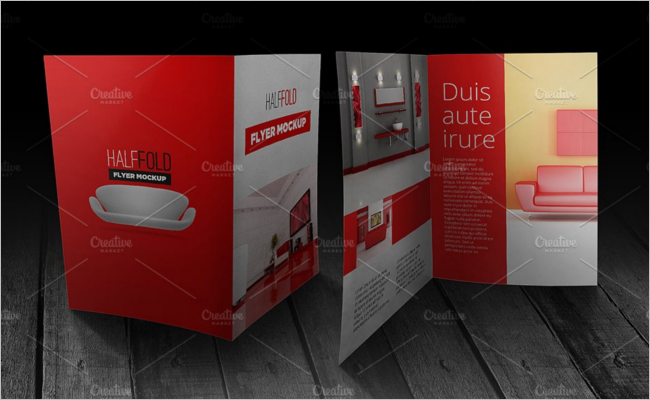 Half Fold Flyer Mockup Design