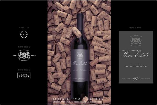 High Quality Wine Bottle Mockup