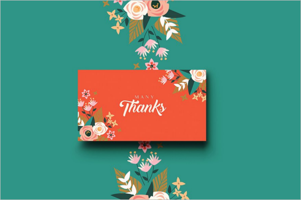 High Resolution Floral Thank You Card Design