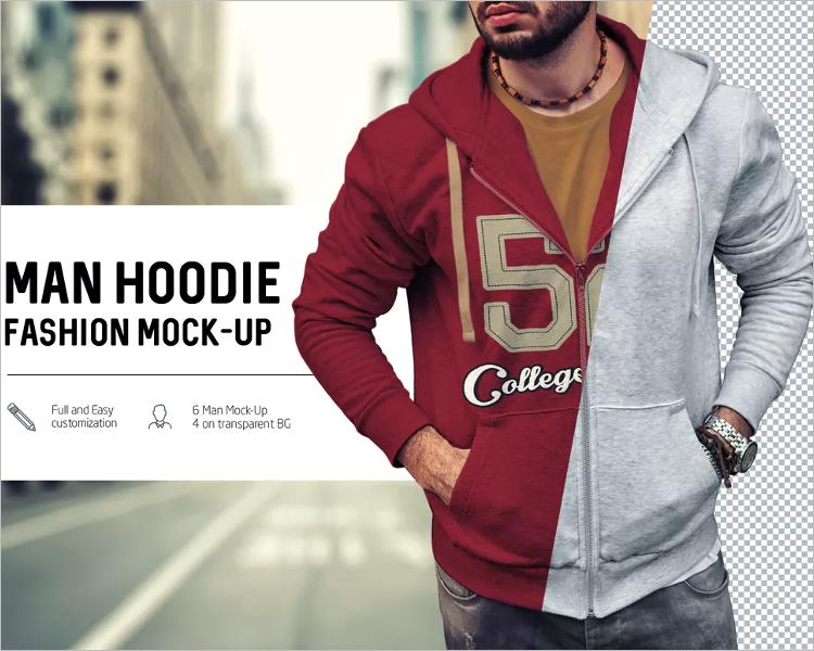 Hoodie Man Mockup Design