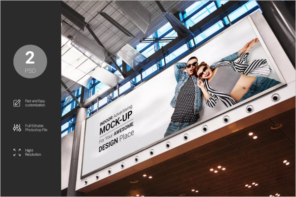 Indoor Billboard Mockup Template Design