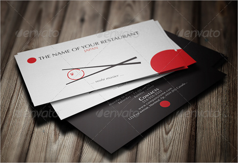 Japanese Restaurant Business Card Template