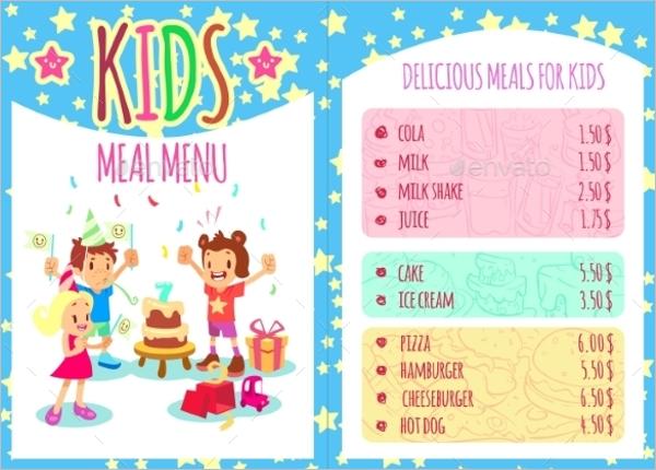 Kids Birthday Menu Card Template