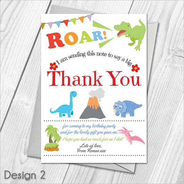 Kids Cartoon Thank You Card Design