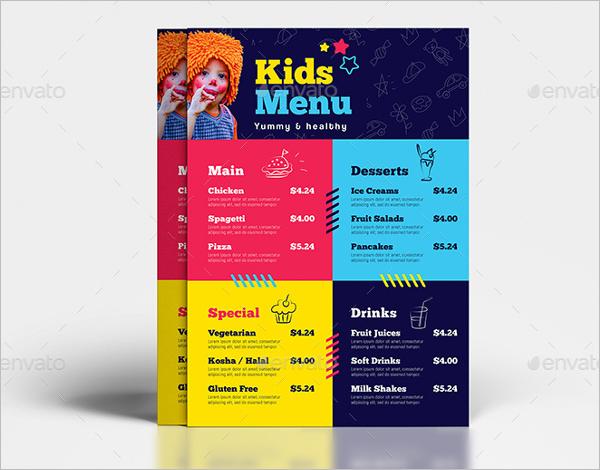 Kids Menu A4 Size Design