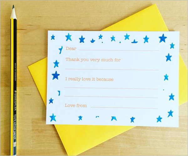Kids Thank You Card Free Download