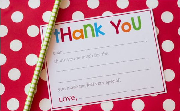 Kids Thank You Note Card PSD