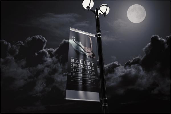 Lamp Post Outdoor Banner Mockup Design