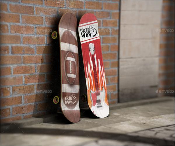 Layered Skateboard Mockup Design