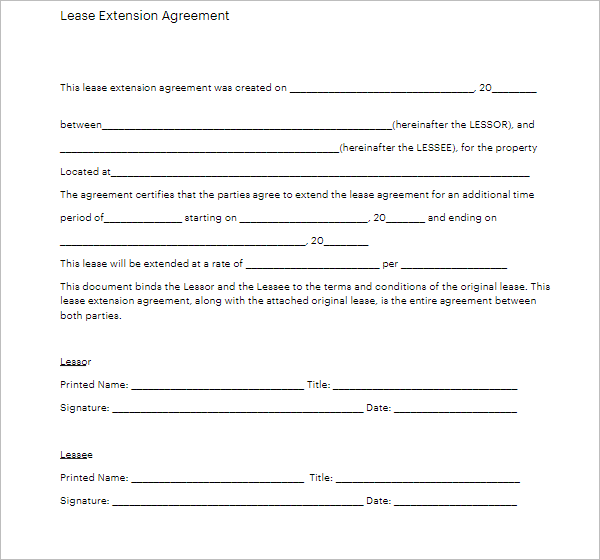 Lease Extension Agreement Template