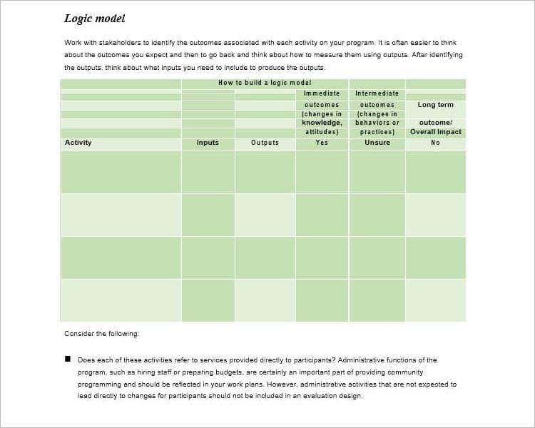 Logic Model TemplateWord