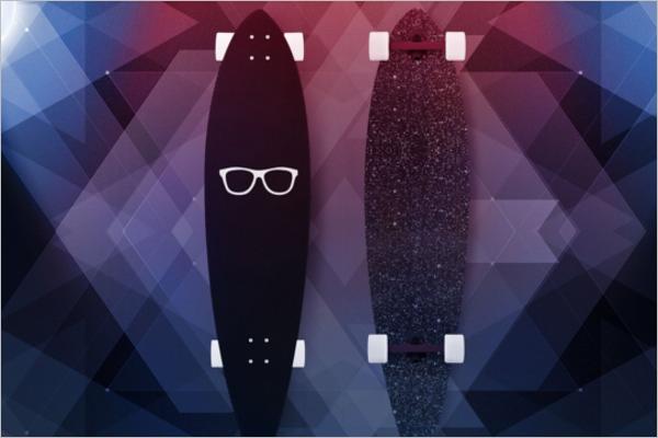 Long Skateboard Mockup Design