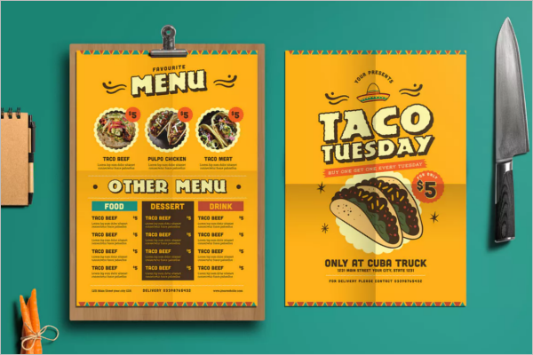 Menu Card Template In A4 Size