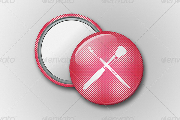Mirror Button Badge Mockup Design