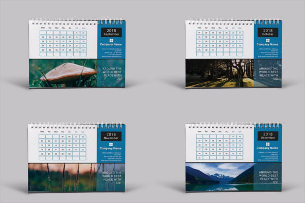 Modern Desk Calendar Mockup Template