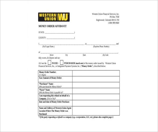 Money Order Affidavit Form Free Download