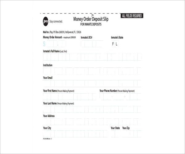 Money Order Deposit Form Template